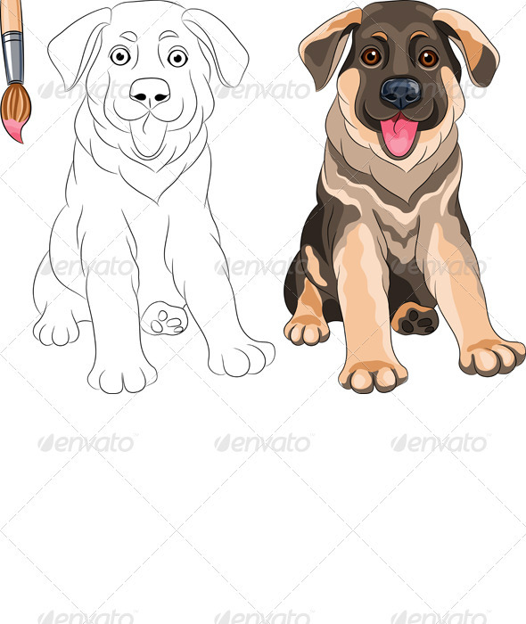 Vector Coloring Book of Smiling Puppy Shepherd - Animals Characters