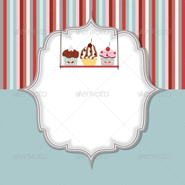 GraphicRiver Cupcake Invitation Card Vector Illustration 3538005