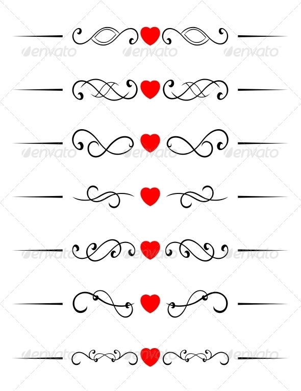 GraphicRiver Swirl Elements with Hearts 3538629