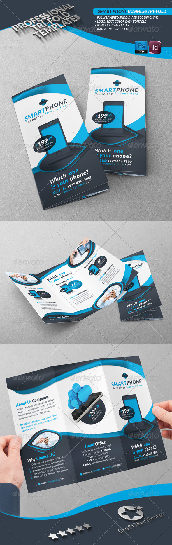 GraphicRiver Smart Phone Business Tri-Fold 3540214