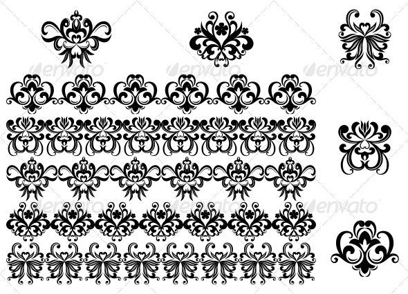 GraphicRiver Flower Patterns and Borders 3540304