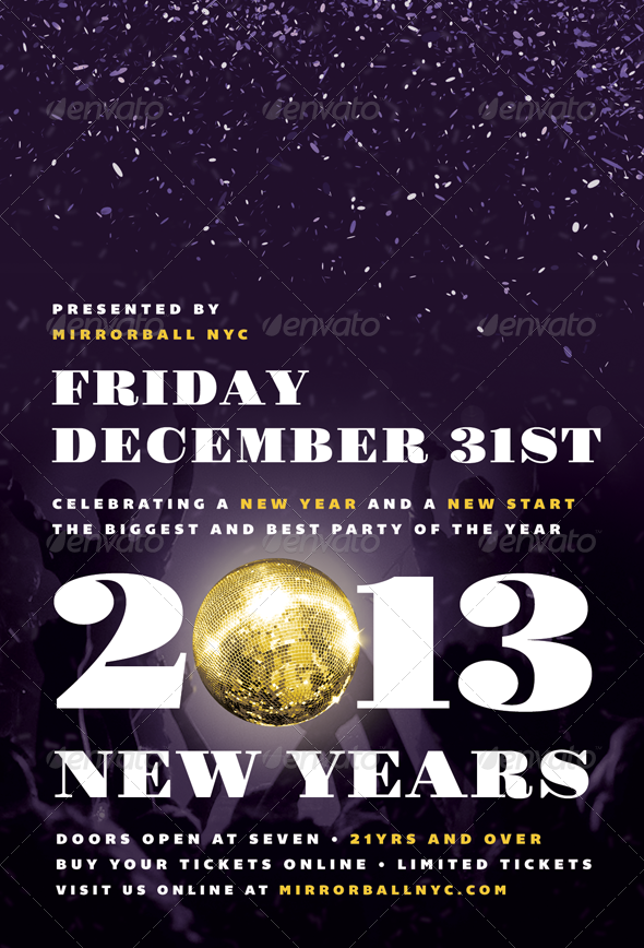 GraphicRiver Mirrorball New Years Eve Flyer Template 3540521