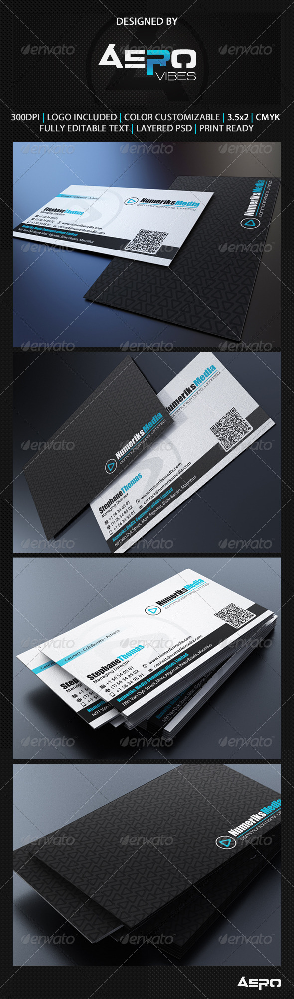 GraphicRiver Modern Black Business Card 3541868