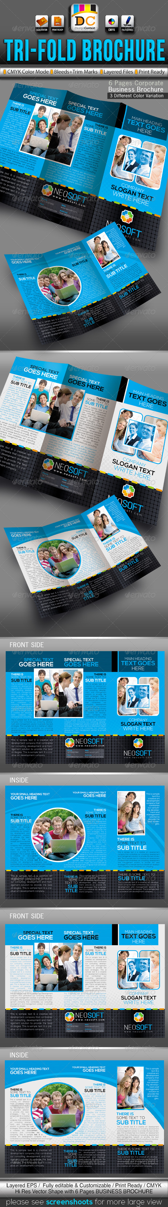 GraphicRiver NeoSoft Tri-fold Corporate Business Brochure 3542687