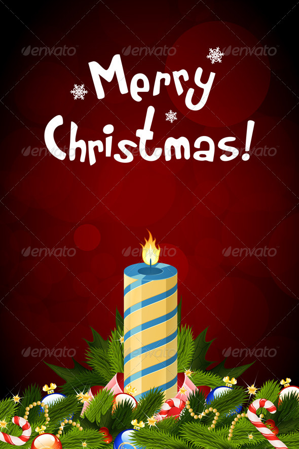 GraphicRiver Christmas Card with Decorations and Candle 3544001
