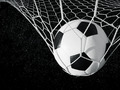 Soccer ball in goal, black and white - PhotoDune Item for Sale