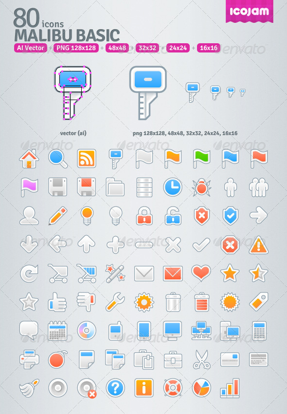 GraphicRiver 80 AI Malibu Basic icons 3545713