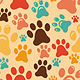 Vector Seamless Pattern with Animal Paws  - GraphicRiver Item for Sale