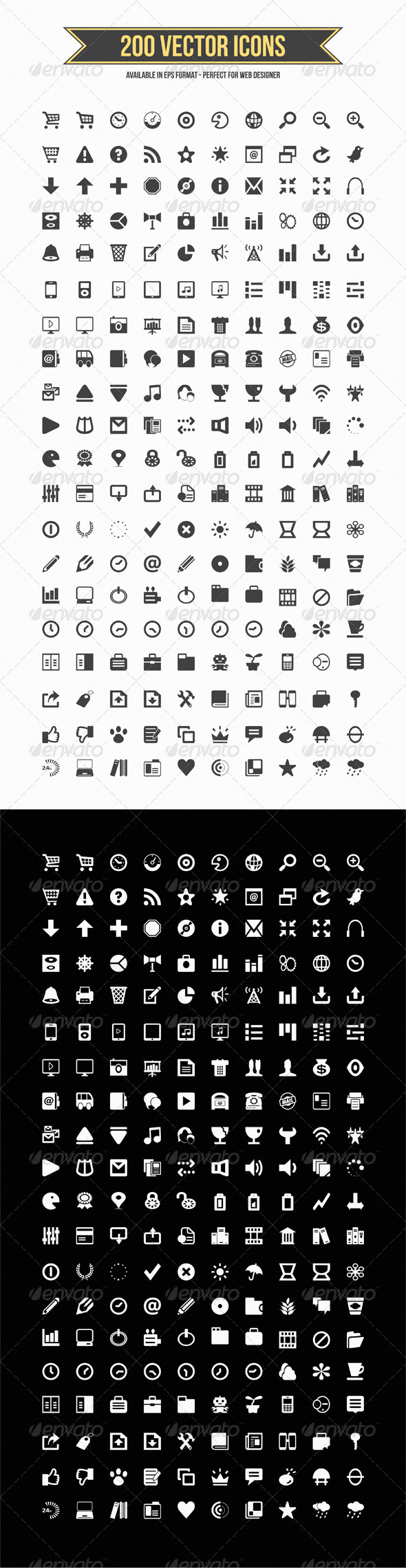 GraphicRiver 200 Vector Icons 3546593