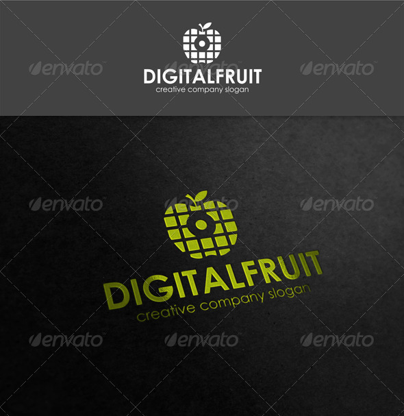 Digital Fruit Logo Template - Food Logo Templates