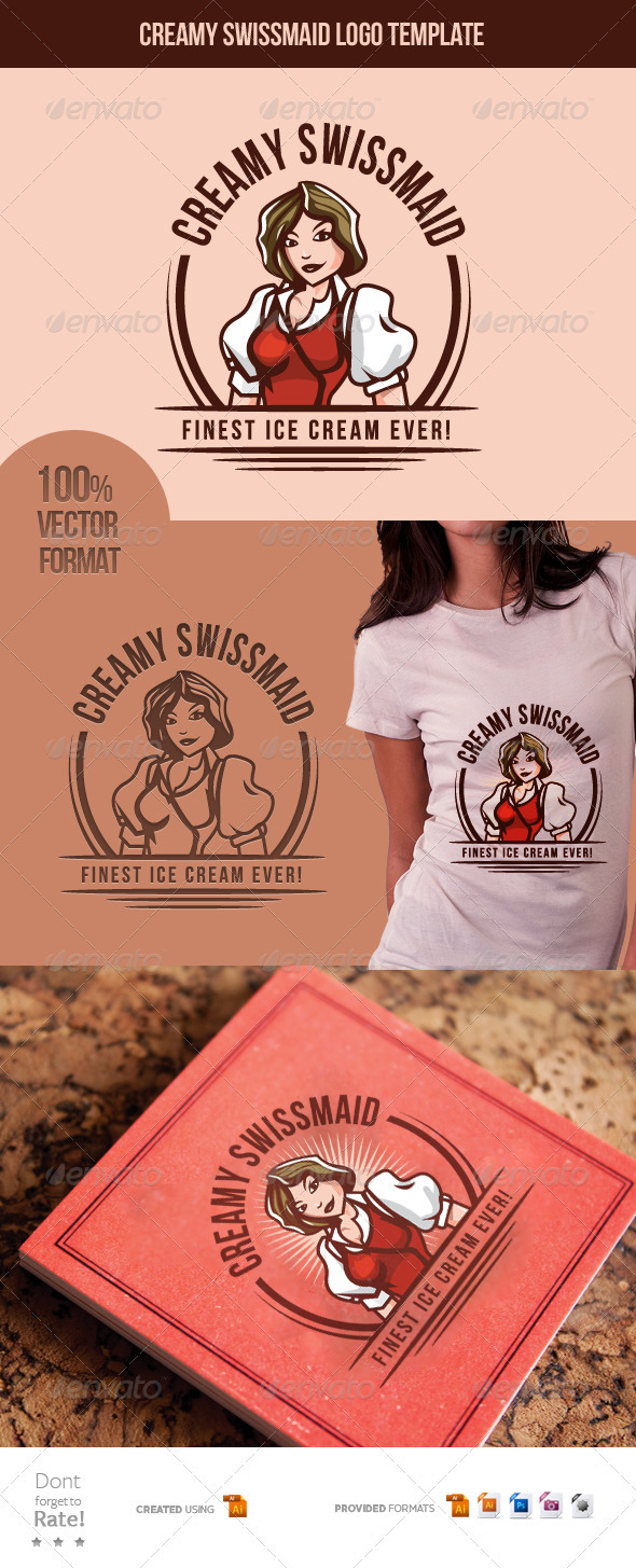 Creamy Swiss-Maid - Finest Ice Cream  - Food Logo Templates