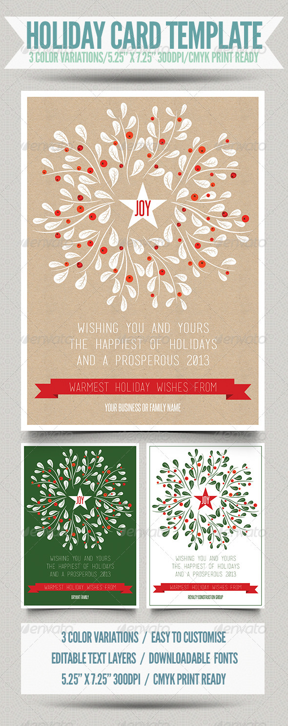 GraphicRiver Holiday Card Template 3547923