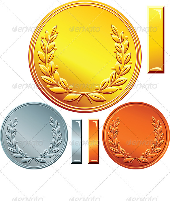 Vector Set of Gold, Silver and Bronze Coins  - Man-made objects Objects