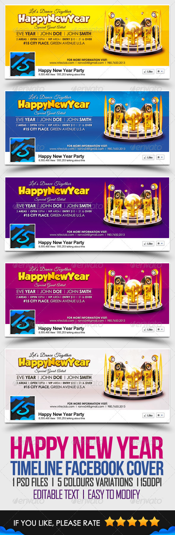GraphicRiver Happy New Year Timeline FB Cover 3514982