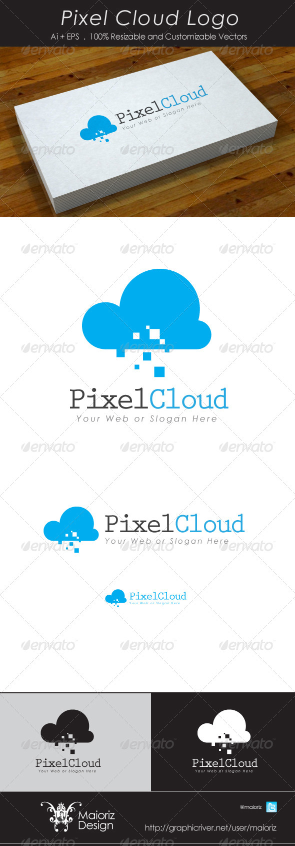 Pixel Cloud Logotype - Vector Abstract