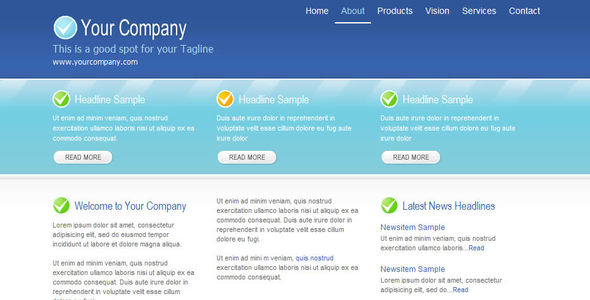 Cool Blu Corporate Web Template - Corporate Site Templates