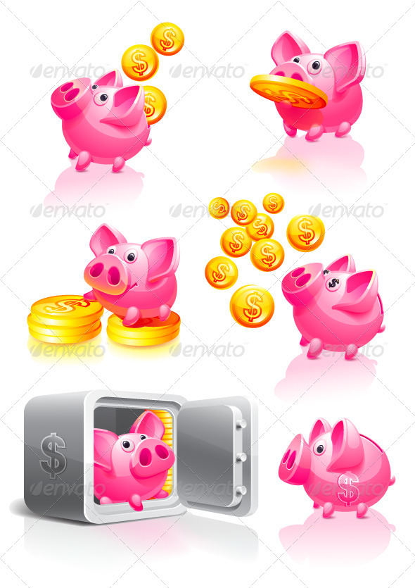 GraphicRiver Pink Piggy Bank with Coins 3549109
