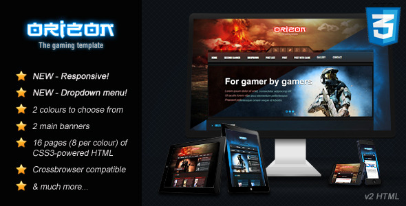 convert html template to wordpress theme online - orizon the gaming template html version by skywarrior