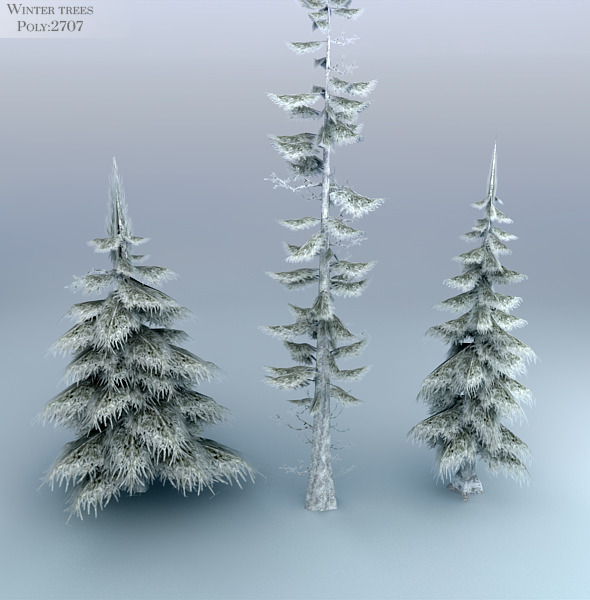 3DOcean Winter Trees Low Poly 3552027