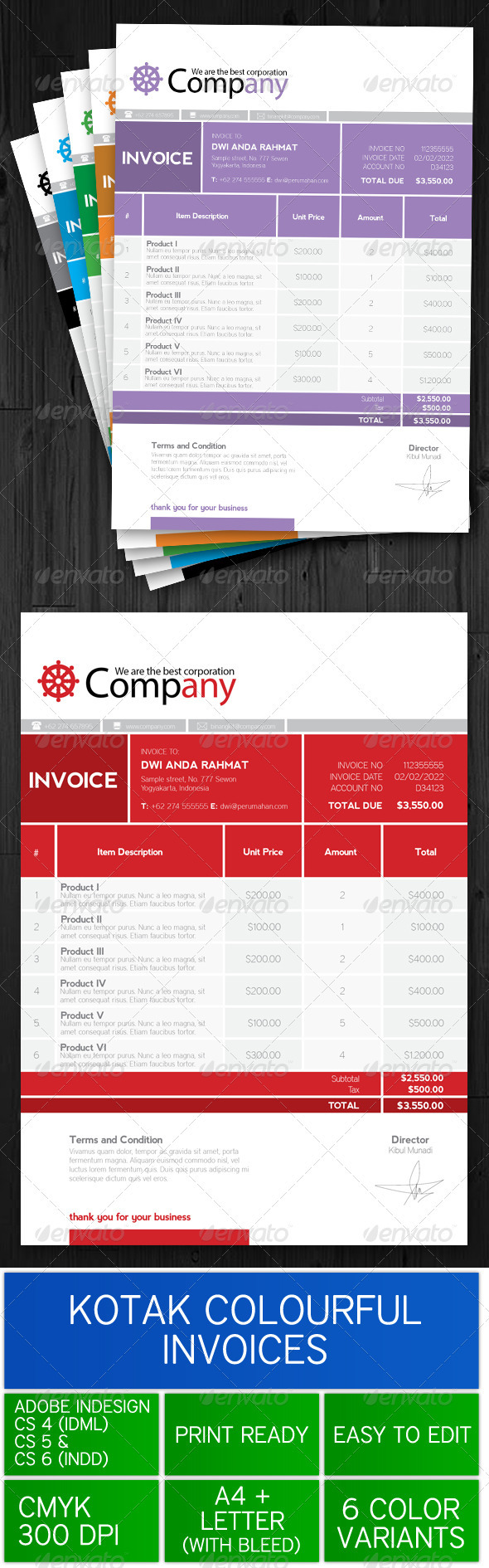 GraphicRiver Kotak Colourful Invoice 3552427