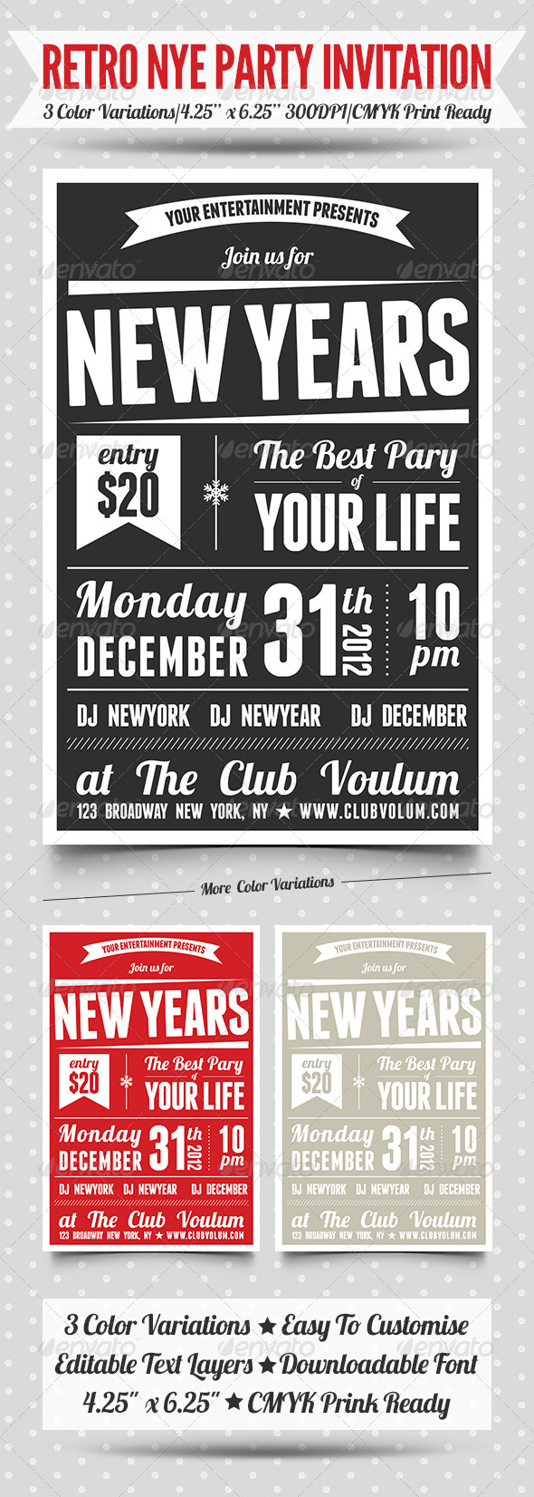 2013 Retro New Years Eve Party Invitation  - Events Flyers
