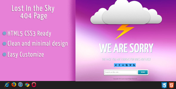 Lost In Sky 404 page Error - 404 Pages Specialty Pages