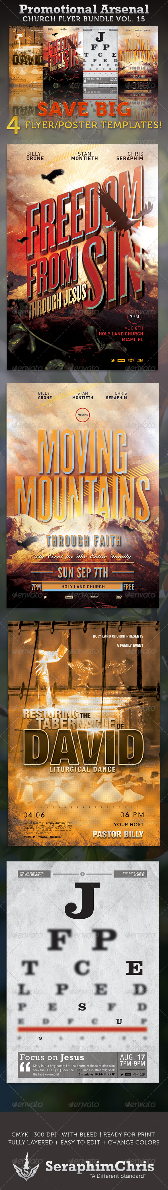 Promotional Arsenal Church Flyer Bundle 15  - Church Flyers