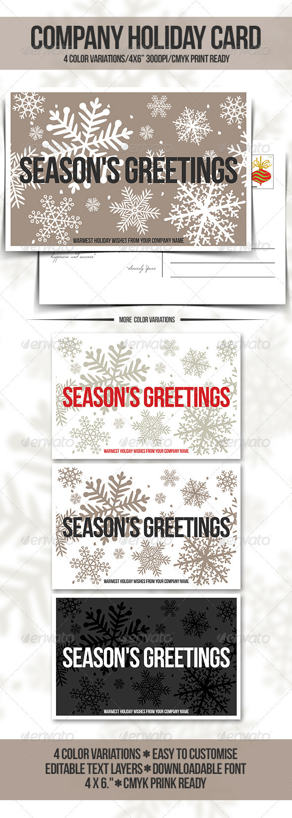 GraphicRiver Company Holiday Greeting Card Postcard 3554537