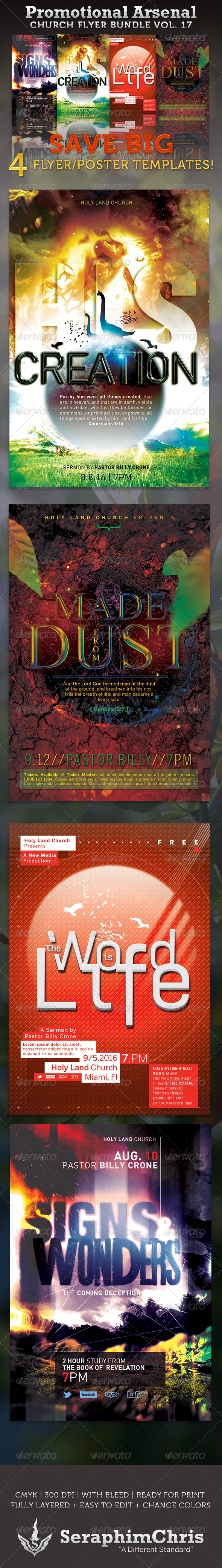 GraphicRiver Promotional Arsenal Church Flyer Bundle 17 3554592
