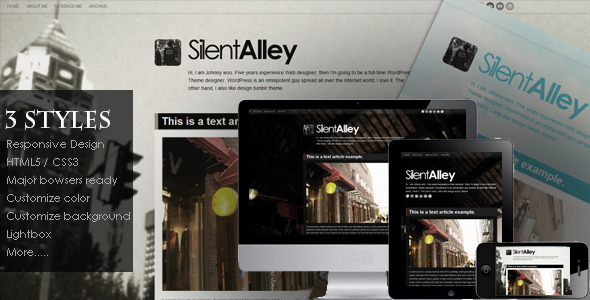 ThemeForest Silent Alley Responsive Multi-Color Tumblr Theme 3331664