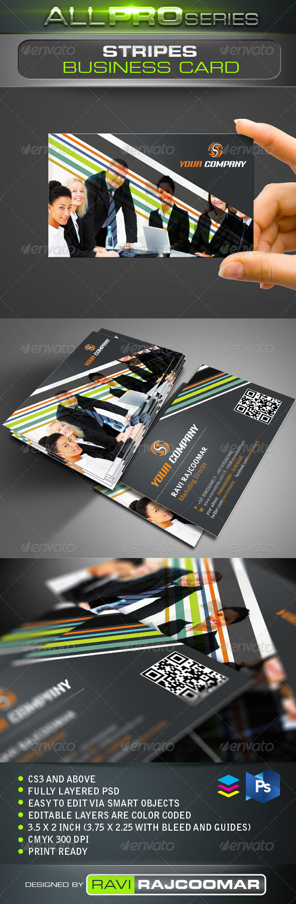 GraphicRiver Stripes Business Card 3485580
