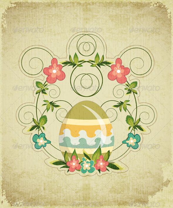 GraphicRiver Vintage Easter Card 3554937