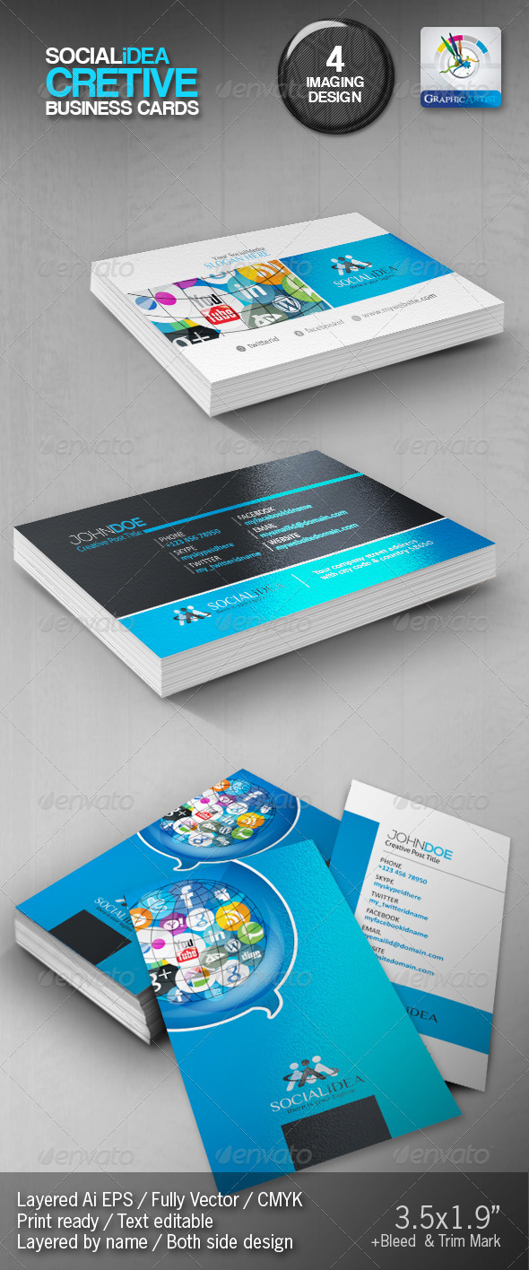 Socialidea Creative Social Media Business Cards - Creative Business Cards