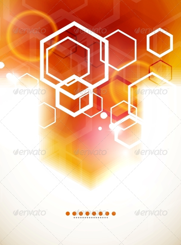 GraphicRiver Orange Abstract Blurred Hexagon Background 3555336