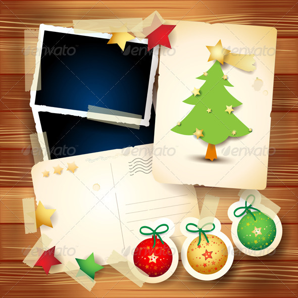 GraphicRiver Christmas Card with Paper Elements 3559344