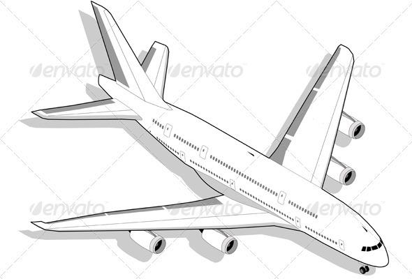 GraphicRiver Isometric White Airplane 3559982