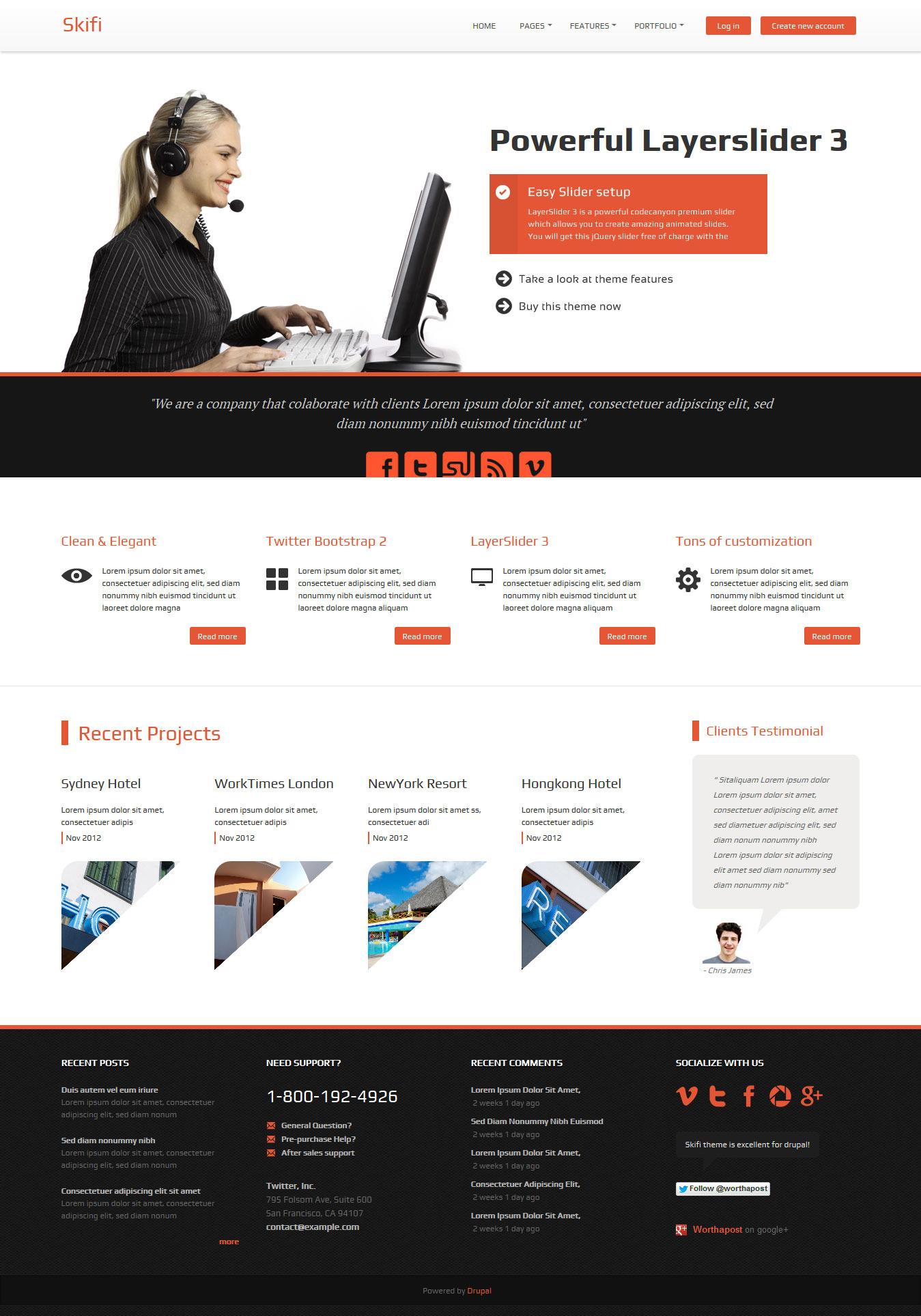 Skifi - Bootstrap Drupal theme