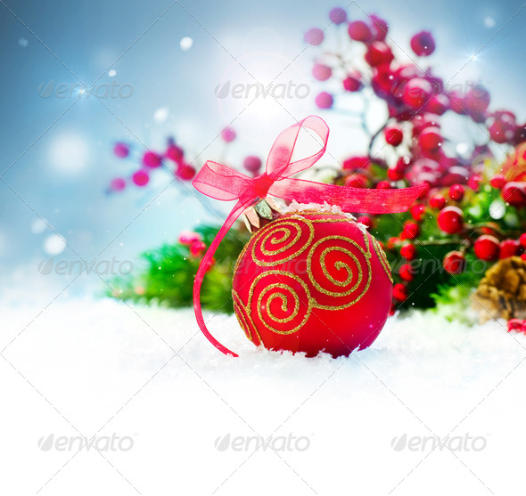 Christmas Holiday Background with Decorations and Snowflakes - Stock Photo - Images