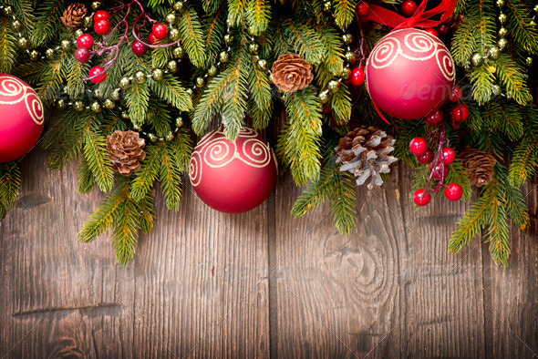 Christmas Over Wooden Background. Decorations over Wood - Stock Photo - Images
