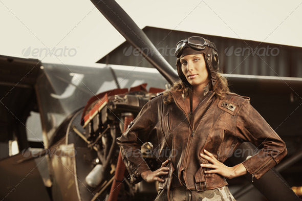 Beautiful woman pilot: vintage photo - Stock Photo - Images