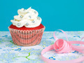 red colored cupcake with vanilla frosting - PhotoDune Item for Sale