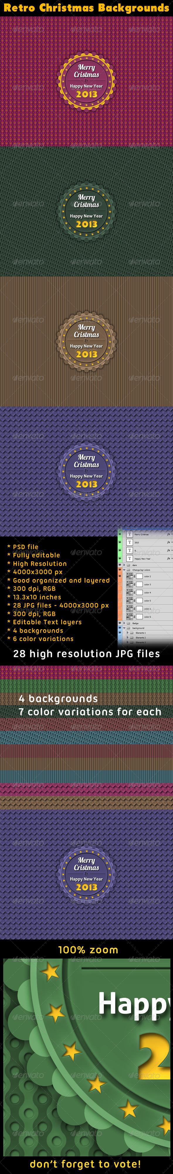GraphicRiver Retro Badge Christmas Backgrounds 3565503