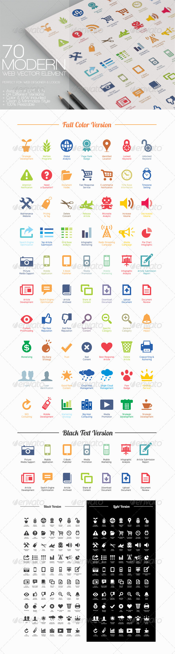 GraphicRiver 70 Modern Web Vector Elements 3538457