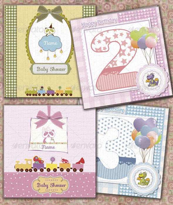 GraphicRiver Child and Babyshower Cards 3544239