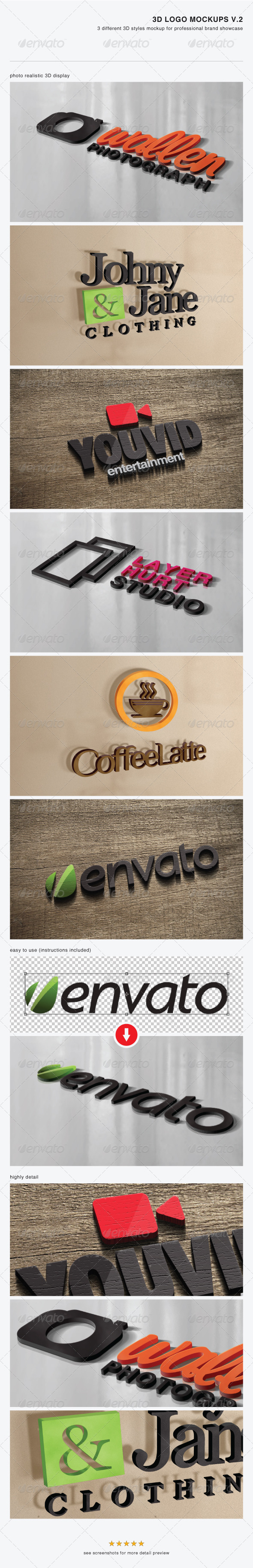 3D Logo Mockups V.2 - Logo Product Mock-Ups