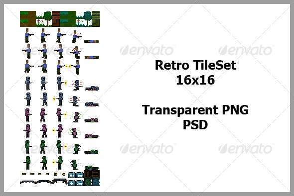 Retro TileSet - Scenes Illustrations