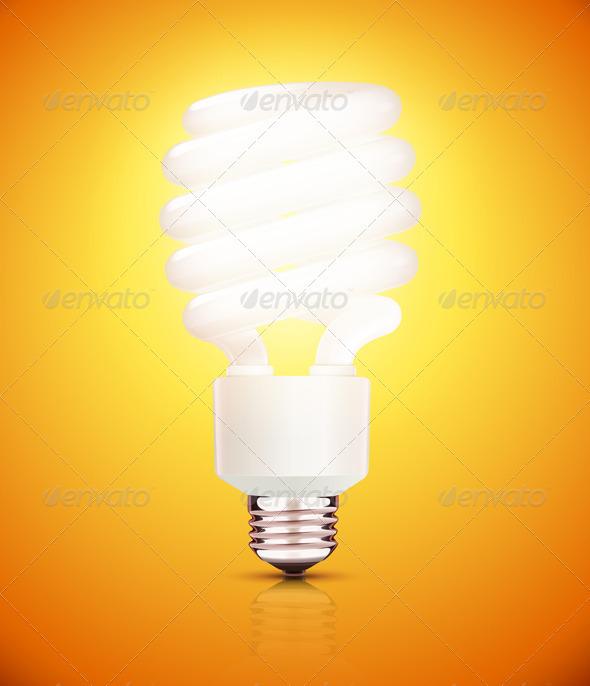GraphicRiver Orange Fluorescent Lightbulb 3568260