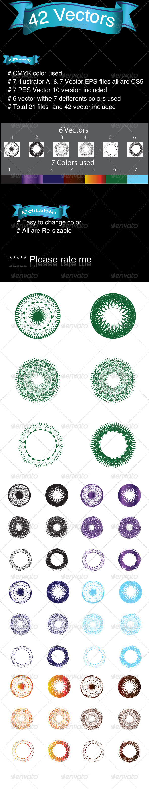 42 Vectors - Flourishes / Swirls Decorative