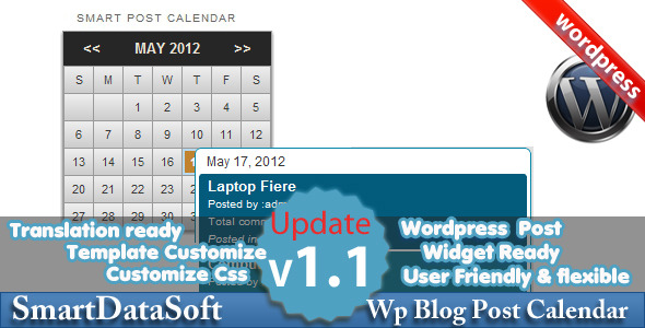 Intelligent WordPress Blog Calendrier - WorldWideScripts.net objet en vente
