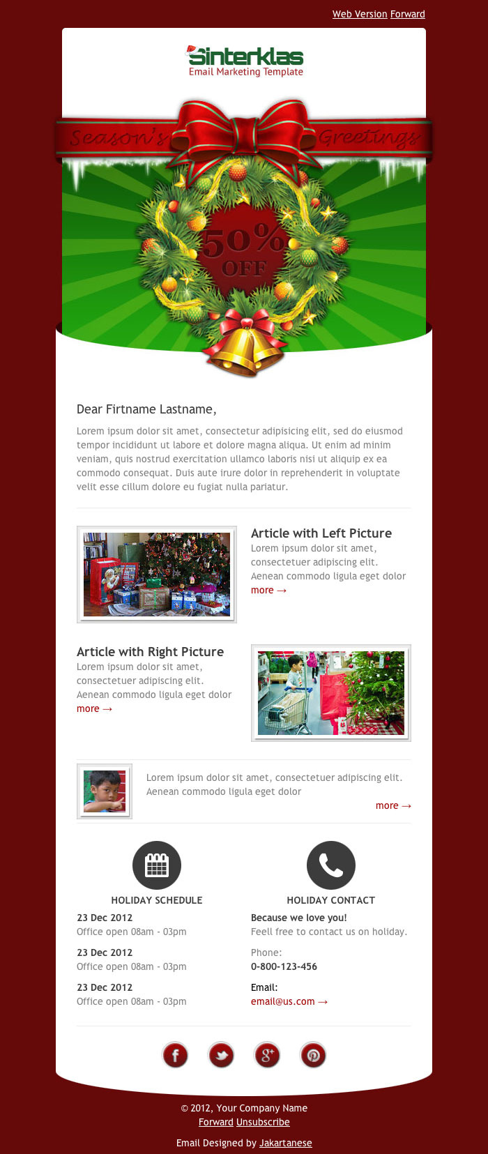 Sinterklas - Christmas Mobile Scalable HTML Email